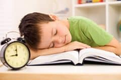 sleeping child in the school